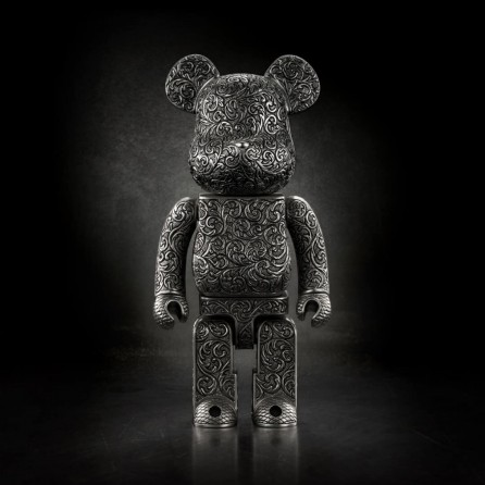400% Bearbrick x Royal Selangor Pewter Arabesque Black