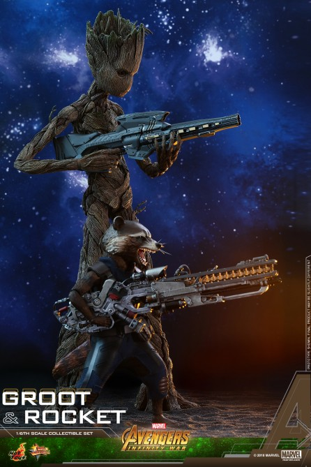 Hot Toys 1/6th Scale MMS476 Avengers: Infinity War Groot & Rocket Set