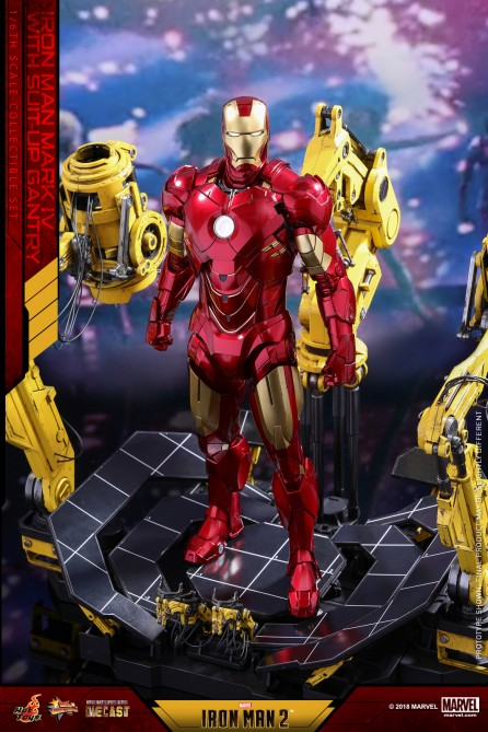 Hot Toys 1/6th Scale MMS462D22 Iron Man 2 Mark IV with Suit-Up Gantry Collectible Figure