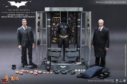 Hot Toys 1/6th Scale MMS236 Batman Armory (with Bruce Wayne Figure and Alfred Pennyworth Figure) Collectible Set