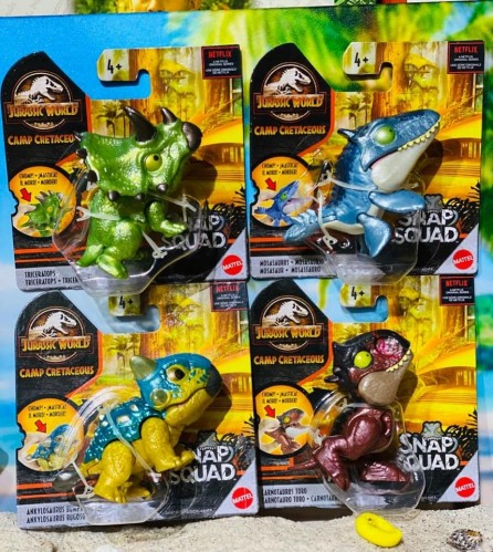 Mattel Jurassic World Snap Squad Mini Figures Set of 4 (Wave 6)
