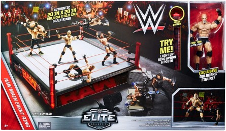WWE Elite Scale Wrestling Ring (Main Event with Goldberg Figure)