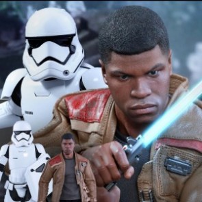 Hot Toys 1/6th Scale Star Wars The Force Awakens Finn & First Order Riot Control Stormtrooper Figures Set